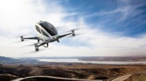 The world's first electric, personal Autonomous Aerial Vehicle (AAV) - EHang 184 (PRNewsFoto/EHANG)